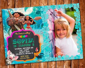 Moana Photo Invitation, Moana Birthday Invitation, Moana Birthday Card, Moana Printables, Moana Photo Invite, Moana Birthday Invitation