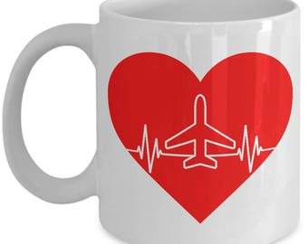 Airplane Heartbeat Mug - 11oz or 15oz Ceramic Cups For Coffee And Tea