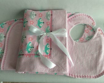 5 Piece Soft and Warm Receiving Blanket Set - 1 Receiving Blanket, 2 Burp Cloths, 2 Bibs - Pink Fox!