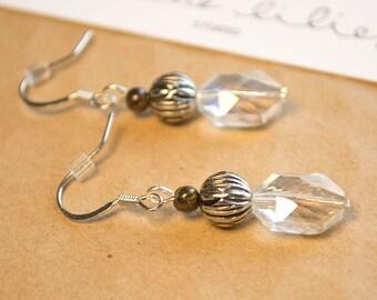 Silver Clear Drop Earrings