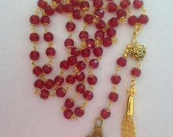 Long red necklace flapper necklace long necklace red necklace crystal necklace tassel necklace dangle beaded necklace handmade necklace