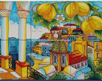 Positano Terrace Landscape Mural Tiles. Decorative panel tile form Italy