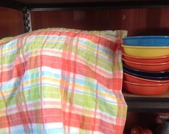 Vintage Tablecloth, Madras Print, Fiesta Colors