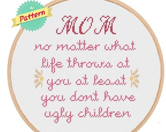 Mother's Day Cross Stitch Pattern Gift For Mom Funny Cross Stitch Christmas Gift For Mom Mama Bear Gift Funny Gift For Mom