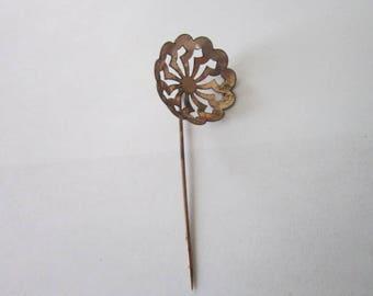 Antique Gold Filled Fancy Stickpin Pierced Pinwheel
