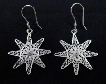Earing sterling silver 925, anting filigree sun 3cm