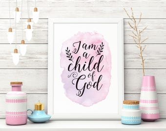 "Nursery Art Print, ""Child of God"",  Baby Girl, Pink and Purple, Wall Art, Watercolour, Calligraphy"