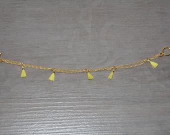 Gold tassel chain bracelet