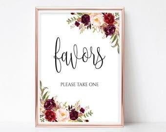 Floral Favors Sign Bridal Shower Sign Wedding Favors Sign Favors Printable Favors Print Wedding Favors Decor Instant Download 4x6, 5x7, 8x10