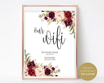 WIFI Password Sign Wifi Printable Our WiFi Sign Internet Sign Wedding Printable Wedding Template Instant Download 4x6, 5x7, 8x10 Boho Chic