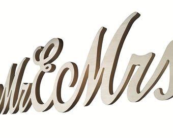Wooden Writing MR & MRS Large size