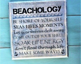 Beach rules rustic sign