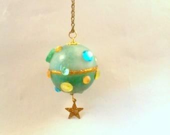 turquoise and gold world globe pendant fluorescent
