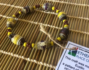 Yellow Paper Bead Bracelet