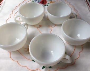 Beautiful set of 5 Vintage Pyrex Milk Glass Coffee Cups
