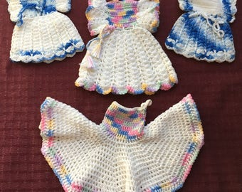 Lot of 4 Vintage Hand Crafted Crochet Pot Holder Dresses - Very Cute!!