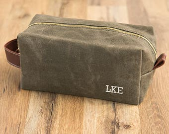 Personalized Men's Waxed Canvas & Leather Dopp Kit