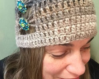 Stylish handmade beanie hat with flower buttons in multi color