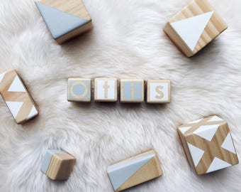 Personalised Wooden Blocks - Grey and White