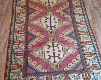 Oushak Rug,Vintage Turkish Rug, Conditioning water and young carpet, pastel background purple colors,3'7''x5'10''Feet,Home living, Area Rug,
