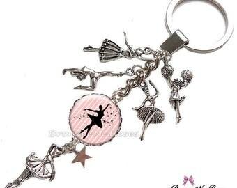 """Porte clés """" Comme une étoile """" cabochon métal argenté breloque danseuse verrefille danse"""