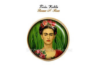 Frida Kahlo ring painter bronze-n-roses gift
