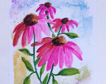 Coneflowers Greeting Card/Coneflowers/Watercolor Greeting Card/5 x 7 card/Coneflowers/Card and envelope/Pink flowers/Floral greeting card/