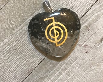White & Black Tourmaline Heart Shape Orgone Pendant With Reiki Symbol|Healing crystals and Stones|emf protection|Orgonite |Energy Generator