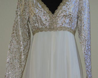 Vintage 60s Full Length Empire Waist Evening Gown in Cream w/Gold Threaded Detailed Bodice