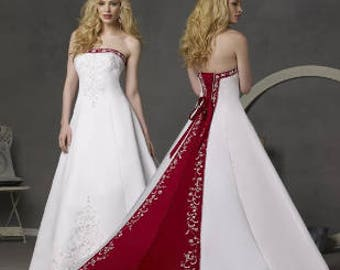 Satin Red and White A-Line Wedding Dress Custom Made