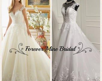 Elegant See Through Back Ball Gown Wedding Dress