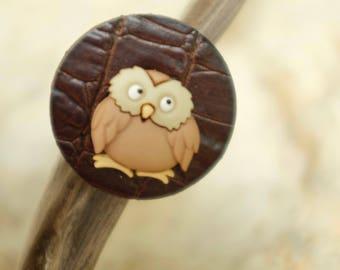 Leather Brown OWL ring