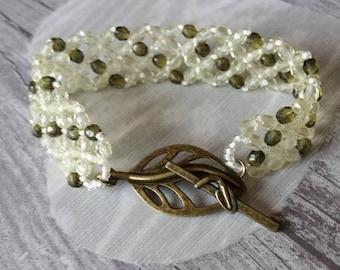 Bracelet fancy beads olivine