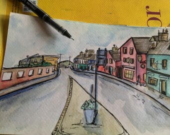 City Sketch and Watercolor