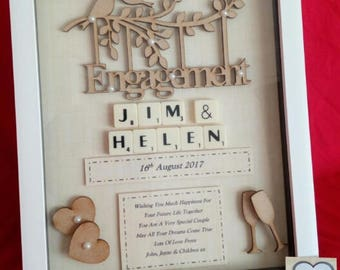 ENGAGEMENT personalised keepsake gift box frame wooden