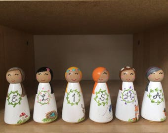 Personalized Nursery Peg Dolls
