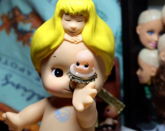 Remade Kewpie Dolls/ doll Ring/Playful decoration/handmade/vintage doll/Kawaii