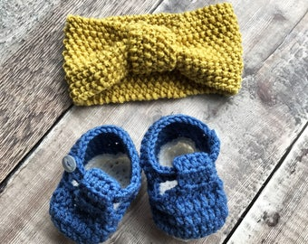 Baby headband and booties set - kids hair accessories - baby hairband - childrens knitted headband - baby shower gift