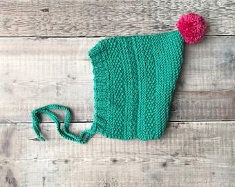 Baby pixie hat - textured spring bonnet - handmade knitted hat - kids pom-pom bonnet - baby shower gift - newborn easter bonnet