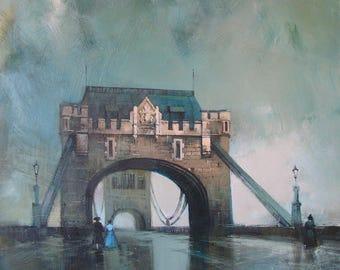Bridge art Bridge canvas Bridge paint Bridge blue Bridge London Bridge tower River Thames City London London art London landscape