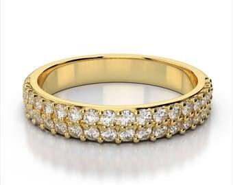 2 Row Diamond Wedding Band 14k Yellow Gold