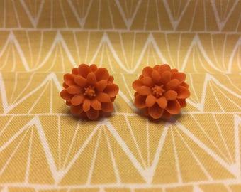 Orange Flower Stud Earrings