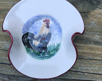 Rooster Pottery Dish Hand Painted, Hand Made