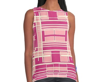 Stripes, Shirt, Wife Gift, Print, White, Retro, Print, Pink, Girlfriend Gift, Tank Top, Blouse, Gift for Her, Tank, Stripes,  Print