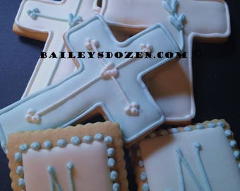 Baptism favors   Cross cookies   Custom decorated cookies   Large crosses and mini pastel squares mix   Initial   Monogram   Pearl border