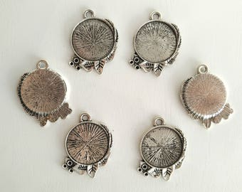 20mm Inner Size Antique Silver Classic Style Cabochon Base Setting Charms Pendant