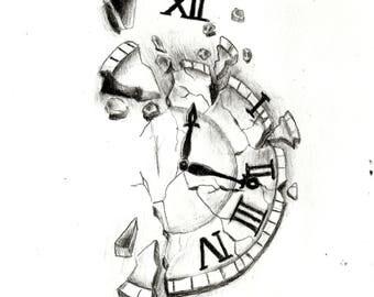 Clock, Drawing, Art