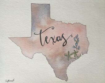 Watercolor Map of Texas-Hurricane Relief