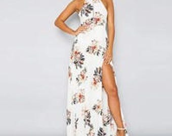 White Floral Halter Dress