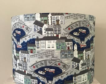 Harbour Scene Drum Lamp Shade